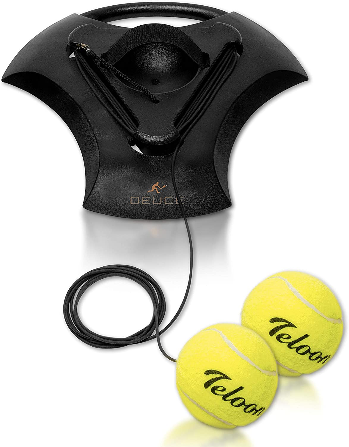 Tennis Training Self Trainer Pro Tennis Equipment for Tennis Sports Training – Includes 2 Balls, 2 Elastic Cord and Weighted Base - Enhance Cardio, Stamina, Quickness and More - Patent Pending