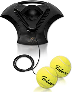 DEUCE Tennis Training Self Trainer Pro Tennis Equipment for Tennis Sports Training – Includes 2 Balls, 2 Elastic Cord and ...