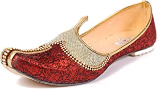 Unique World Trade Men's red Shining Ethnic Wedding & Sherwani Juttis -UWT22