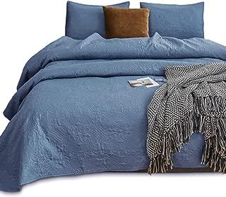 KASENTEX Coverlet Quilt Set-Pre Washed-Luxury Microfiber Soft Warm Bedding-Solid Colors Bedspread-Contemporary Floral Design (Natural Bluestone Floral, Twin + 1 Sham)