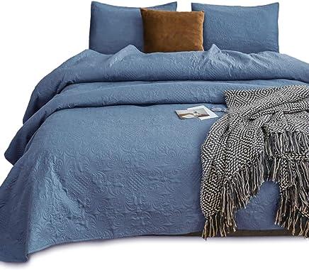 KASENTEX Coverlet Quilt Set-Pre Washed-Luxury Microfiber Soft Warm Bedding-Solid Colors Bedspread-Contemporary Design (Natural Bluestone Floral,  Oversized King + 2 King Shams)