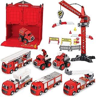 BIMONK Ensemble de Jouets de Voiture de Camion de Pompiers, Jouet de Camion de Pompiers avec Plateau Tournant, Ensemble de...