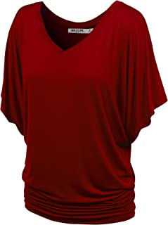 Women's Solid Short Sleeve Boat Crew Neck V Neck Dolman Top XS - 5XL Plus Size Made in USA
