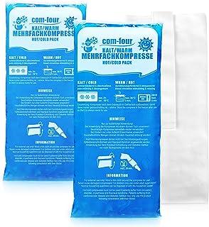 COM-FOUR® 2x stora multipla kompresser med premium återanvändbart fleeceöverdrag, kalla och varma kompresser med gel cool ...