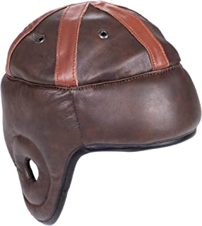 Vintage Leather Football Helmet - American Football Memorabilia & Mini Collector's Item for Display Cases, Museums, Fan Rooms, & Man Caves - Authentic Leather Helmet, Leatherhead Style