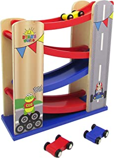 KIDS PREFERRED Ryan's World - Ramp Racer - Wooden Car Race Track with 4 Wooden Race Cars
