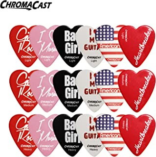 ChromaCast CC-HS-SAMPLER Heart Shaped Picks Assorted - 18-Pack Light, Medium and Heavy Gauge