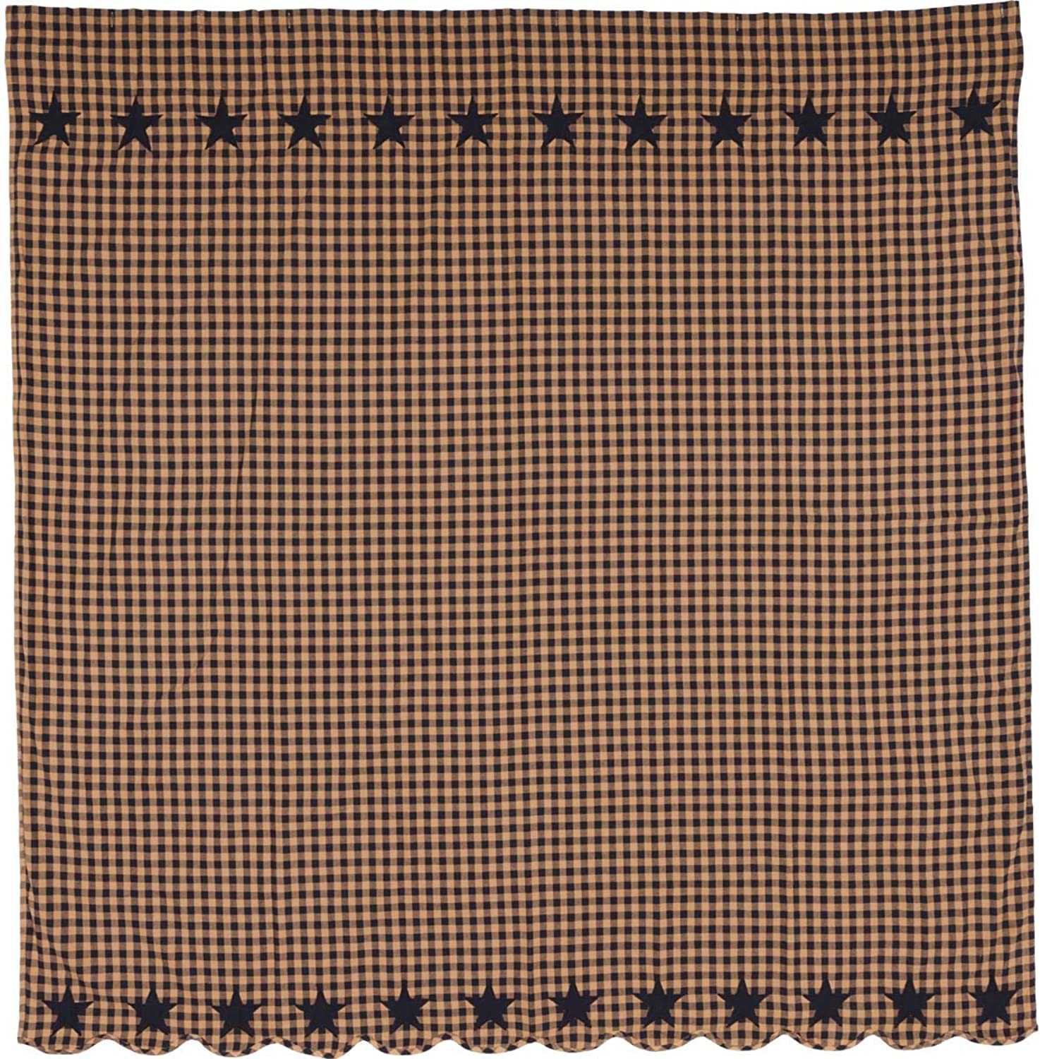 VHC Brands Classic Country Primitive Bath - Star bluee Shower Curtain, 72 x 72, Navy