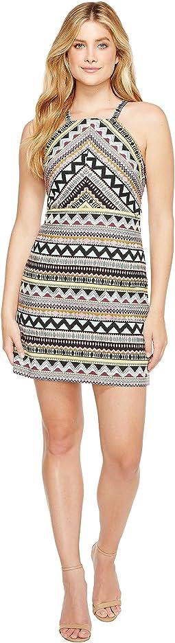 Aztec Jacquard Halter Dress