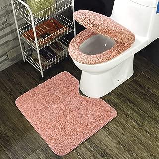 トイレ 3点セット 便座カバー U型O型トイレ兼用フタカバー ト 足元マット フワフワ 防寒 吸水 速乾 ピンク