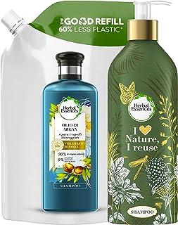 Herbal Essences Shampoo con Olio di Argan, Ripara i Capelli, Pura Essenza delle Piante, Bottiglia Ricaricabile senza Plast...