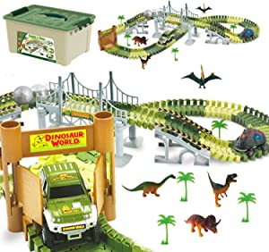 ToyVelt Dinosaur Toys Race Track Toy Set - Create A Dinosaur World Race 2021 Edition Dinosaur Playset Includes 3 Cars & Mega Ball and Container Gift for Boys & Girls Ages 3,4,5,6, Years Old and Up
