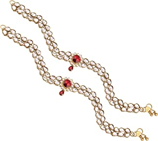 I Jewels Indian Bollywood Gold Plated Wedding Set of 2 Anklet Payal Faux Kundan Studded Charm Ankle Bracelet Ethnic Fashion Barefoot Jewelry for Women (A014R)