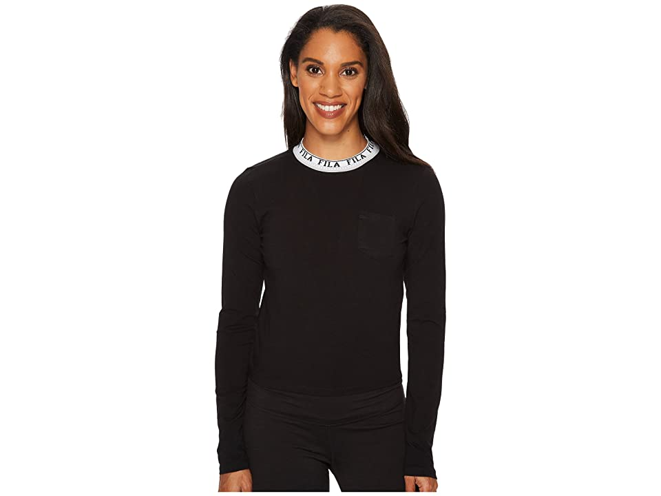 Fila Rebecca Long Sleeve Top (Black/White/Silver Dollar) Women