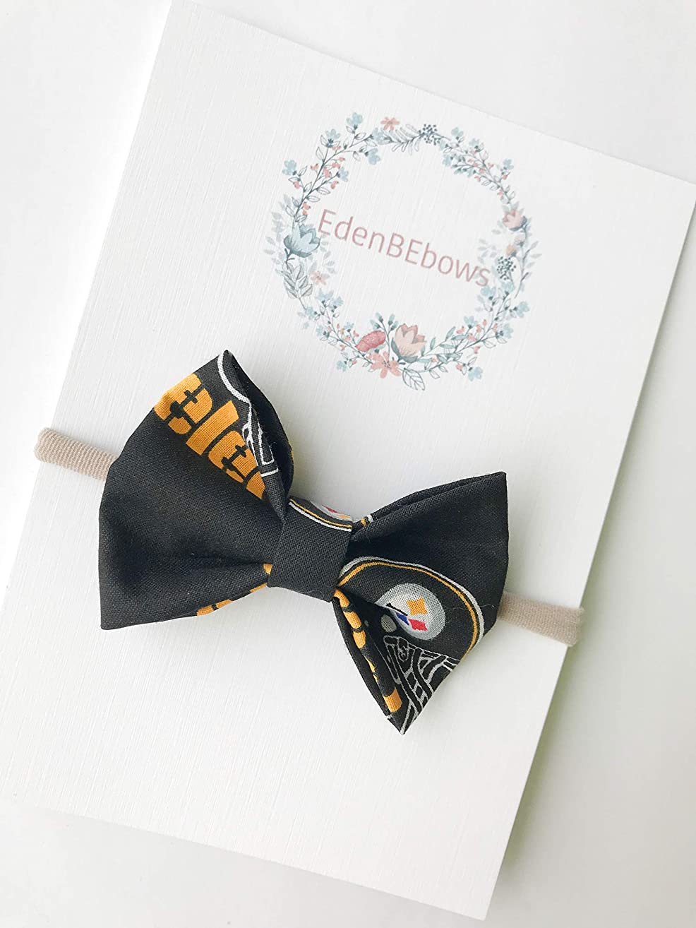 Pittsburg steelers headband bow - great for baby shower, newborn, toddler girls - extra soft nylon headbands