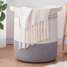OIAHOMY Laundry Basket-Cotton Rope Basket Large Storage Basket with Handles,Modern Decorative Woven Basket for Living Room...