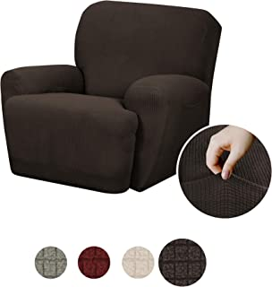 MAYTEX Reeves Stretch 4 - Piece Recliner Arm Chair Furniture Cover/Slipcover with Side Pocket, Chocolate Brown