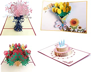 3D Greeting Cards for All Occasions | Pop Up Cards Assortment | Flowers Greeting Cards | Cards Envelope Included | Birthday Gifts for Sister, Mom, Wife, Kids (4 pcs)