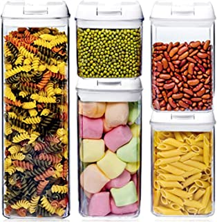 Bocaux de Conservation Plastique Alimentaire Hermétique 5 Pièces/Etiquettes Récipients Hermétiques à Nourriture Ensemble d...
