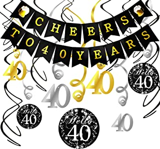 Konsait 40th Birthday Decorations Kit Cheers to 40 Years Banner Swallowtail Bunting Garland Sparkling Celebration 40 Hanging Swirls,Perfect 40 Years Old Party Supplies 40th Anniversary Decorations