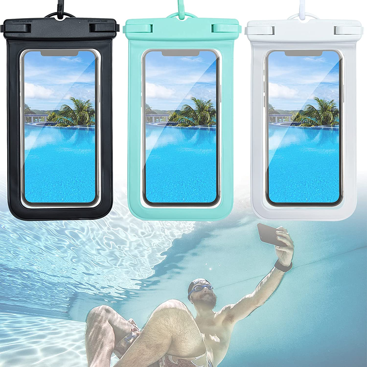 Universal Waterproof Cell Phone Pouch, 3 Pack Floating IPX8 Waterproof Phone Case Cellphone Pouch Underwater Dry Bag for iPhone 12 Pro Max XR X 8 7 Plus Galaxy up to 7