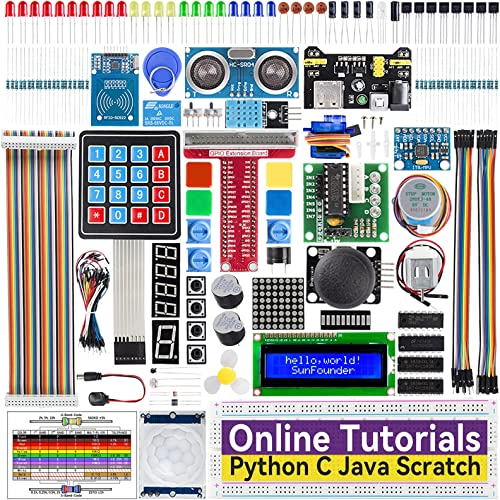 SunFounder Raspberry Pi Starter Kit for Raspberry Pi 4B 3 B+ 400, 537-Page Online Tutorials, Python C Java Scratch Co...