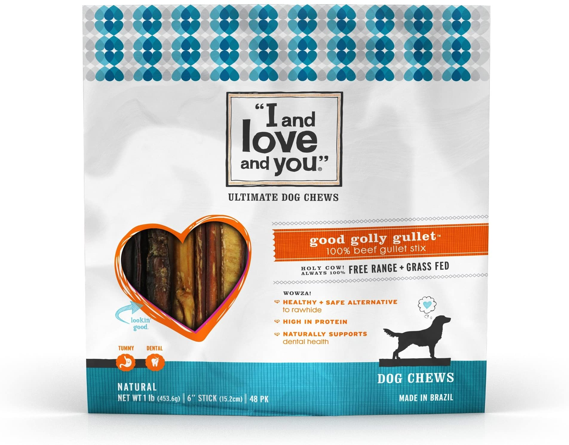 I and love and you Good Golly Beef Gullet Sticks - Grain Free Dog Chews, 100% Beef Gullet, 48 Pack of 6-Inch Sticks