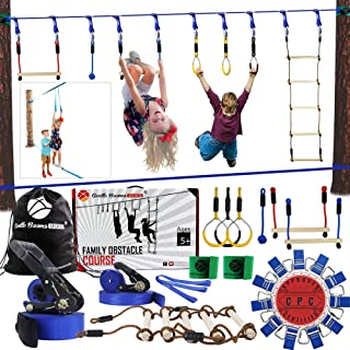 Gentle Booms Sports Ninja Warrior Line Obstacle Course Kit Monkey Bar Kit 56 Foot, Kids Slackline Hanging Obstacle Course Set, Extreme Training Equipment for Outdoor Play, Family Play Together
