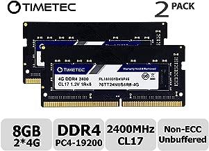 Timetec Hynix IC 8GB KIT (2x4GB) DDR4 2400MHz PC4-19200 Unbuffered Non-ECC 1.2V CL17 1Rx8 Single Rank 260 Pin SODIMM Laptop Notebook Computer Memory RAM Module Upgrade (8GB KIT (2x4GB))