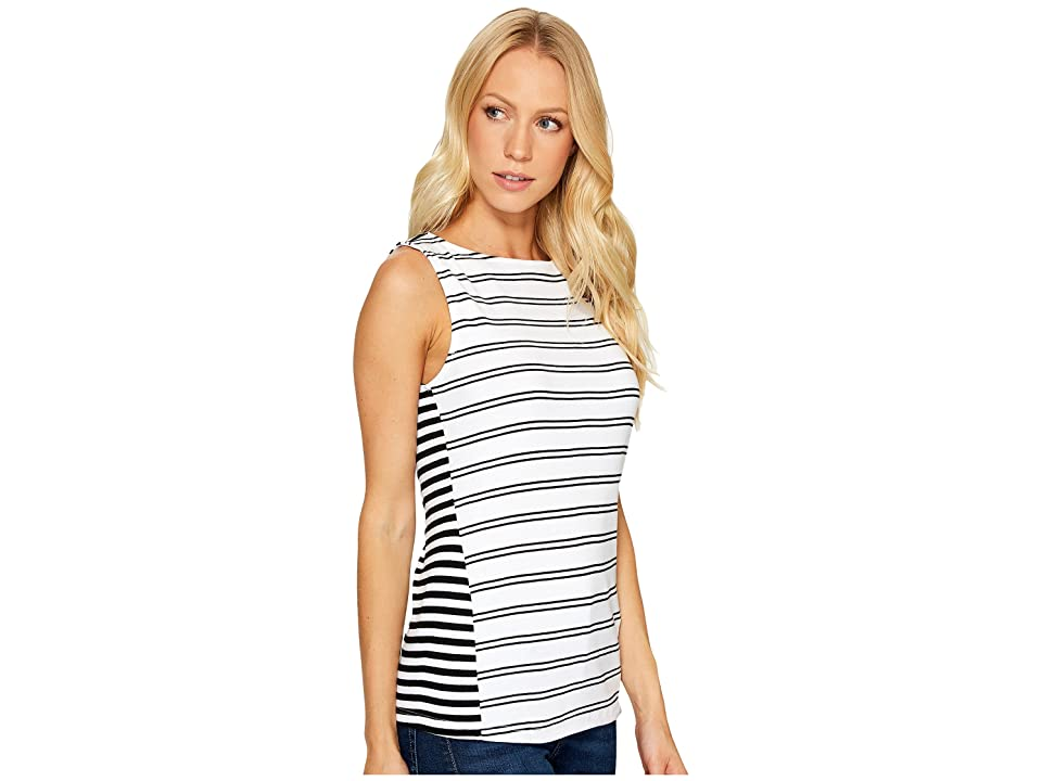 Three Dots Santorini Mykonos Striped Tank Top (Black/White) Women