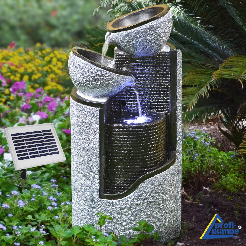 AMUR Solar Gartenbrunnen Brunnen Solarbrunnen Zierbrunnen Vogelbad  Wasserfall Gartenleuchte Teichpumpe   Springbrunnen Wasserspiel für Garten,  ...