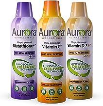 Aurora Nutrascience Mega Liposomal Vitamin C 3000 mg, Mega Liposomal Vitamin D-3+ 9,000 IU, Glutathione+ 750 mg High Absor...