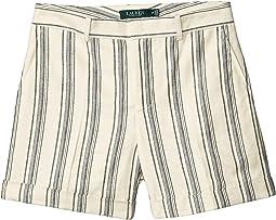 Petite Striped Linen Twill Shorts