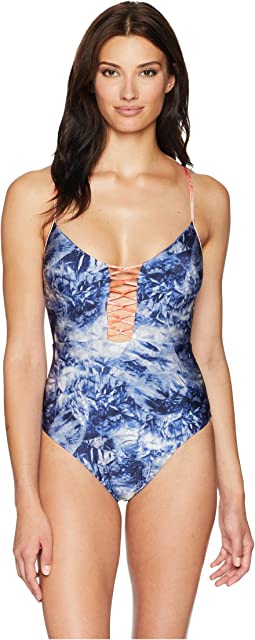 Crushed Waves Plunge One-Piece Swimsuit