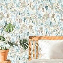 ورق جدران من RoomMates RMK11734RL بأشجار الفولكلور الأبيض والأزرق