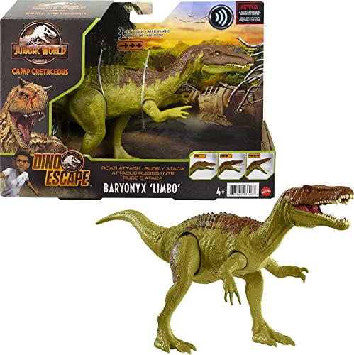 2021 Jurassic new arrival World Roar Attack Baryonyx sale Limbo Camp Cretaceous Dinosaur Figure with Movable Joints, Realistic Sculpting, Strike Feature & Sounds, Carnivore, Kids Gift 4 Years & Up sale