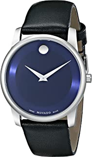 Movado Men's 0606610 Museum Stainless Steel Watch with Black Leather Band