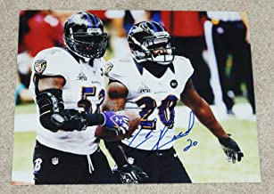 ED REED #20 Signed BALTIMORE RAVENS 8x10 photo w/Ray lewis - Autographed NFL Photos
