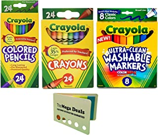 Crayola Crayons, 24 Count Colored Pencils, 24 Count Ultra-Clean Washable Markers, 8 Count | Includes 5 Color Flag Set | Great Coloring Bundle