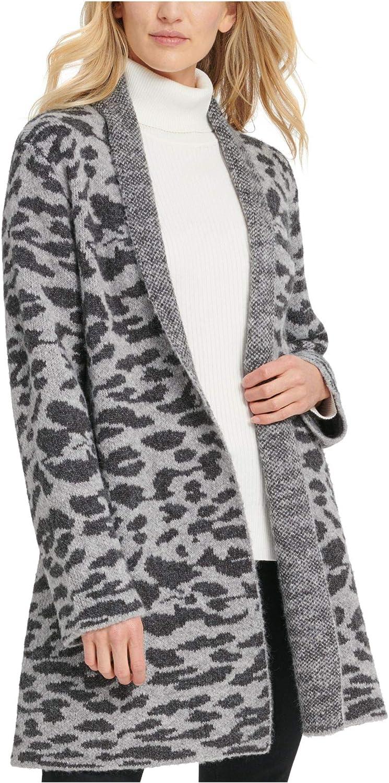 DKNY Womens Gray Animal Print Long Sleeve Open Cardigan Sweater Size M