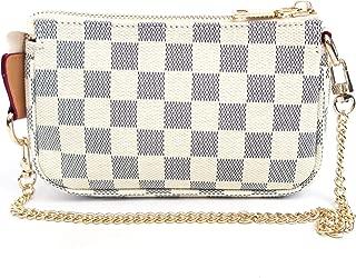 Blush Cotton Luxury Checkered Mini Handbag with Bonus Crossbody Chain Vegan PU Leather and Canvas