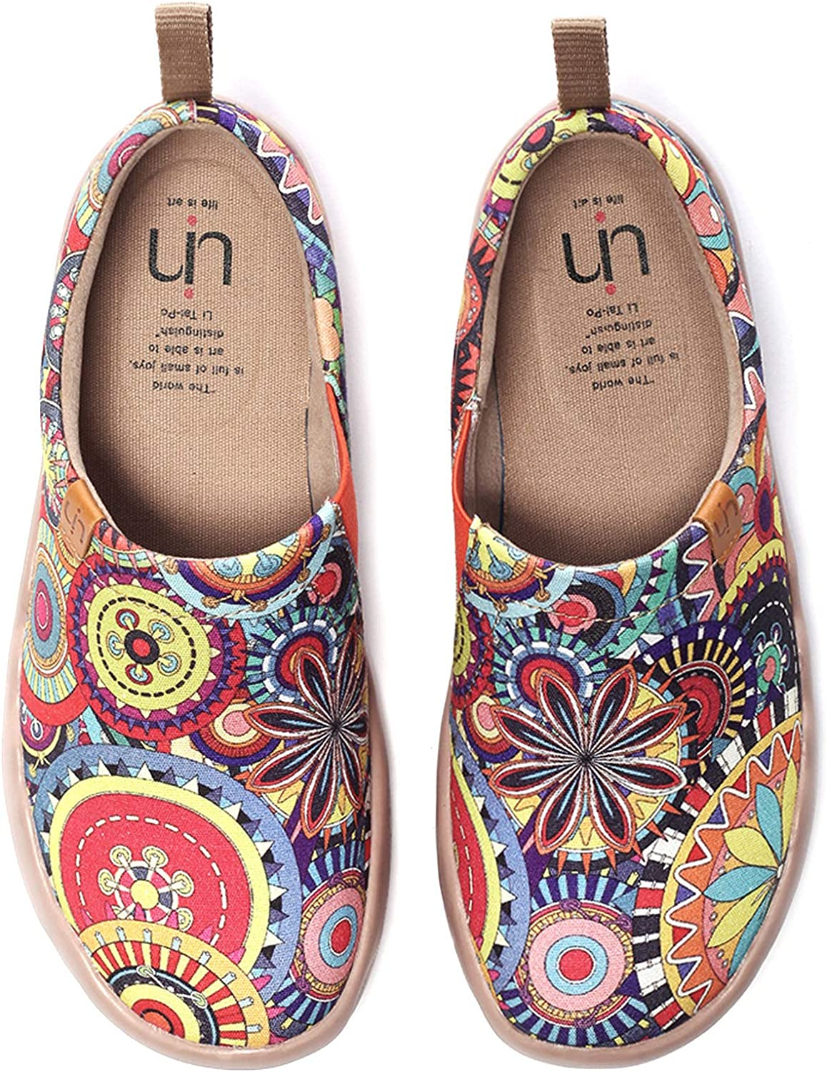 UIN Women's Fashion Floral Art Sneaker Painted Canvas Slip-On Ladies Travel Shoes