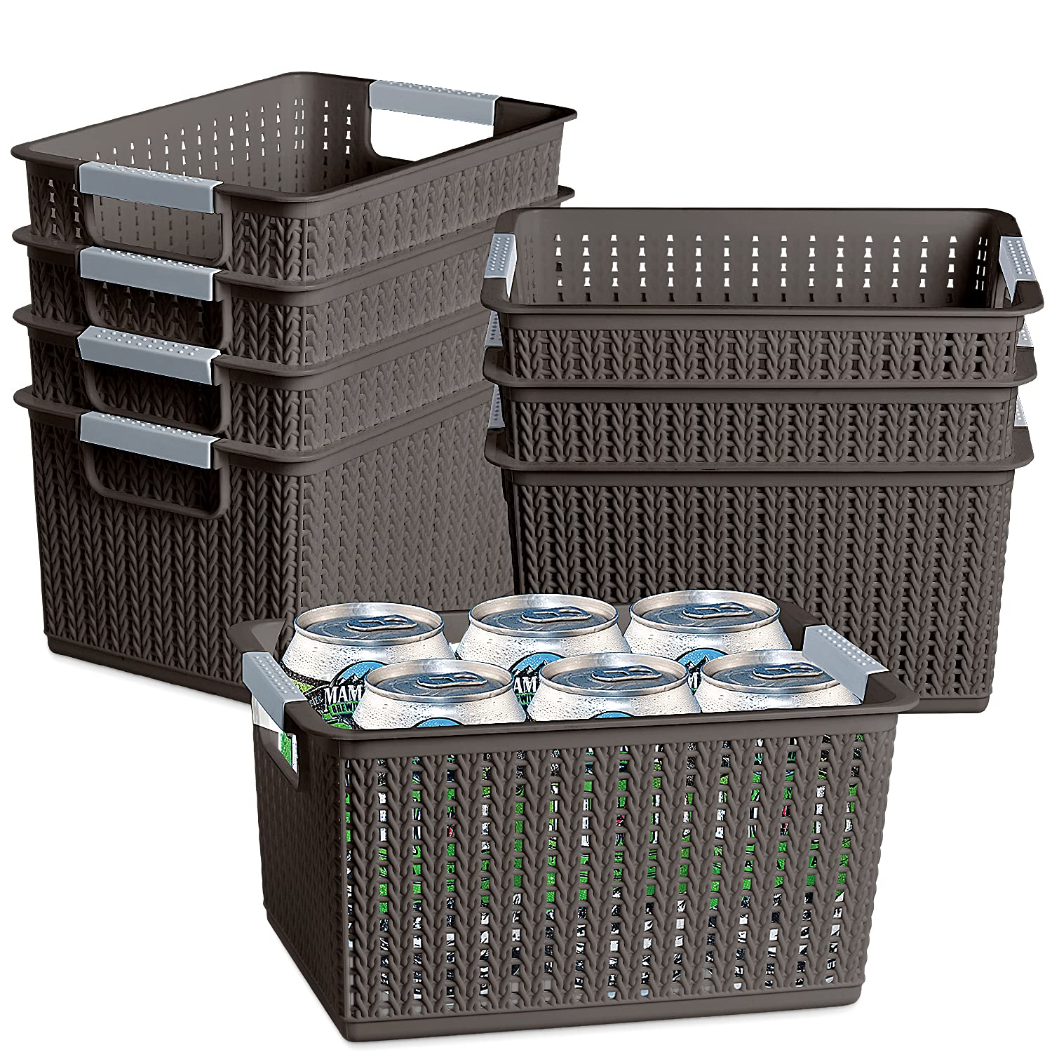 Over item handling 8 Pack Plastic Weave Sales of SALE items from new works Storage Handle Sta Basket with HommyPrefer