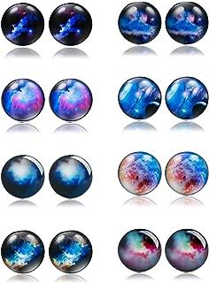 8 Pairs Unisex Stainless Steel Stud Earrings Galaxy Astronomy Earrings for Girls Boys