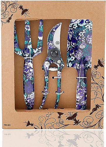 FLORA GUARD Outils de Jardinage en Aluminium de 3 pièces avec imprimé Violet - truelle, Transplanter, sécateur, Ensem...