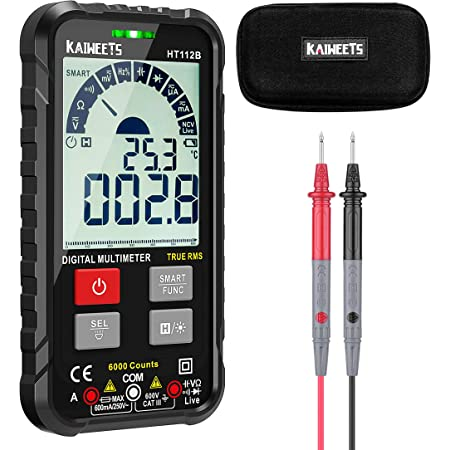 KAIWEETS Digital Multimeter Auto-Ranging 6000 Counts Trms Ultra-Portable Multimeter Tester Frequency Counter Voltmeter/Ohmmeter/Capacitance Meters, Measures Voltage Current Resistance Continuity