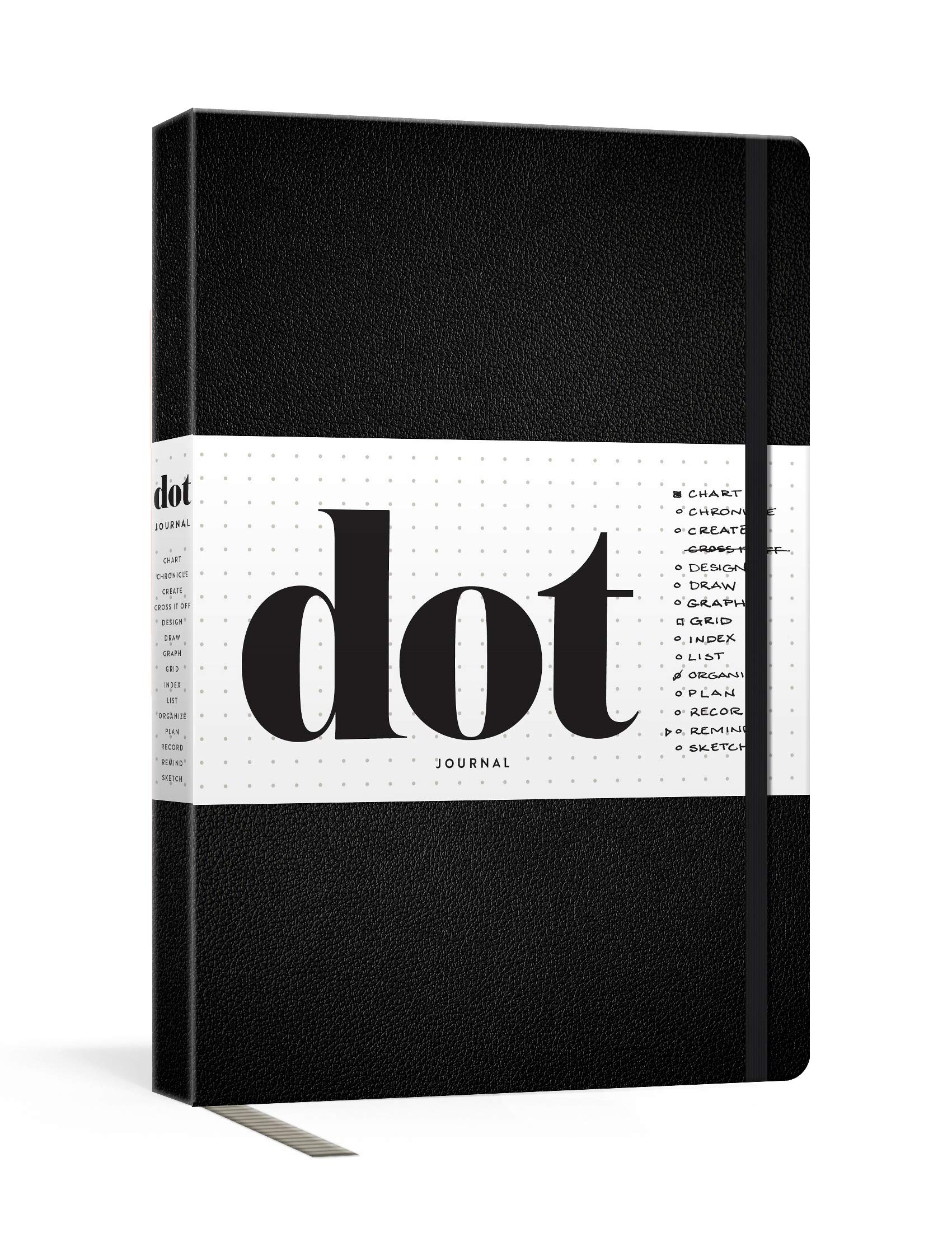 Image OfDot Journal (Black): A Dotted, Blank Journal For List-making, Journaling, Goal-setting: 256 Pages With Elastic Closure And...