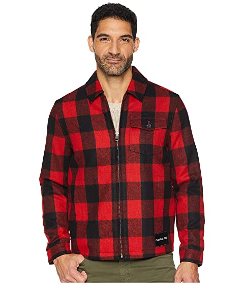 Men's Vintage Style Coats and Jackets Calvin Klein Jeans Wool Buffalo Harrington Jacket Tomato Mens Coat $198.00 AT vintagedancer.com