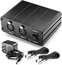 Neewer 2-Channel 48V Phantom Power Supply with Power Adapter and 2 Packs 20 feet/6 meters 3-pin XLR Male to XLR Female Microphone Cables for Condenser Microphones in Sound Recording, Broadcasting