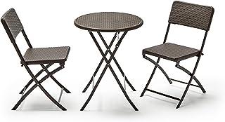 KitGarden - Conjunto Balcón/Terraza Plegable, 1 mesa redonda + 2 sillas, Marrón Imitación Ratán, Lux Balcon 60R